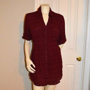 Sonoma Plaid Button Down Tunic Top